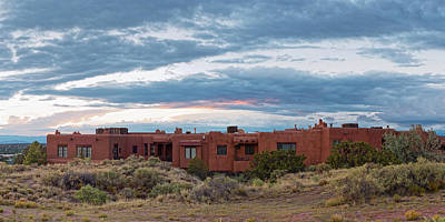 Photograph - Twilight Panorama Of Pueblo Revival Architecture At Cross Of The Martyrs - Santa Fe - New Mexico by Silvio Ligutti