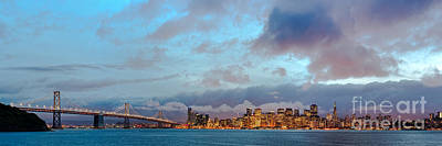 San Francisco Embarcadero Photograph - Twilight Panorama Of San Francisco Skyline And Bay Area Bridge From Treasure Island - California by Silvio Ligutti