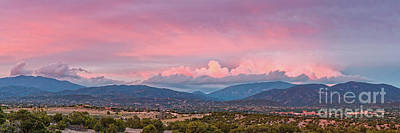 Twilight Panorama Of Sangre De Cristo Mountains And Santa Fe - New Mexico Land Of Enchantment Art Print
