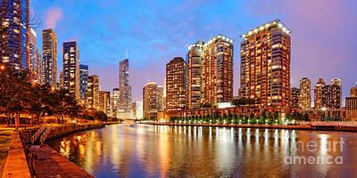 Twilight Panorama Of The Chicago River From Lake Shore Drive - Chicago Riverwalk Illinois Art Print