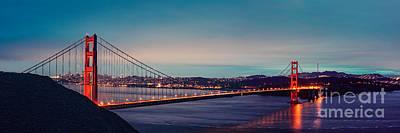 Twilight Panorama Of The Golden Gate Bridge From The Marin Headlands - San Francisco California Print by Silvio Ligutti