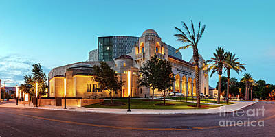Twilight Panorama Of Tobin Center For The Performing Arts - Downtown San Antonio Texas Art Print by Silvio Ligutti