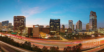Photograph - Twilight Panorama Of Uptown Houston And Galleria Area - Harris County Texas by Silvio Ligutti