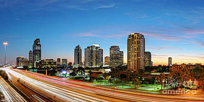 Photograph - Twilight Panorama Of Uptown Houston Business District And Galleria Area Skyline Harris County Texas by Silvio Ligutti