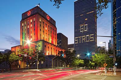 Photograph - Twilight Photograph Of Houston City Hall Astros Baseball World Series 2017 - Downtown Houston by Silvio Ligutti
