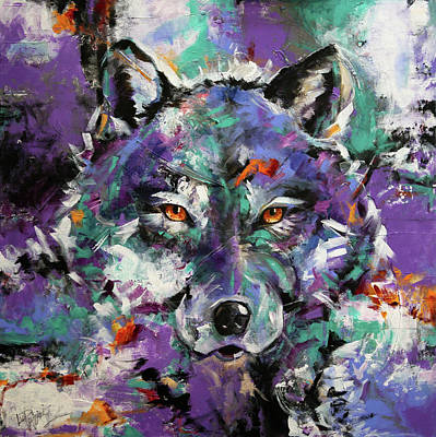 Painting - Twilight Purple Wolf by Laurie Pace