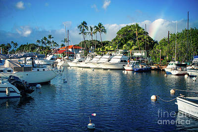 Twilight Rainbow At The Marina Lahaina Harbour Maui Hawaii Art Print by Sharon Mau