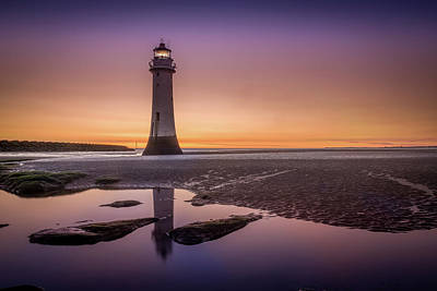 Photograph - Twilight Reflection, New Brighton Lighthouse by Peter OReilly