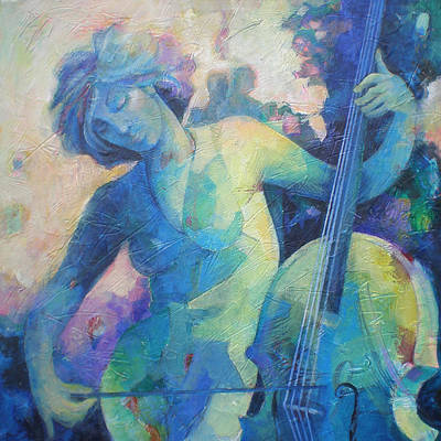 Woman Playing Violin Painting - Twilight Rhapsody - Lady Playing The Cello by Susanne Clark