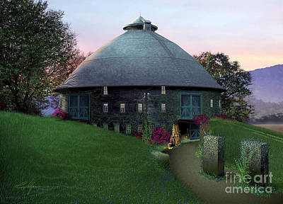 Round Barn Painting - Twilight  by Richard Vulgamore
