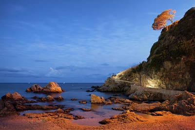 Twilight Sea Coast In Lloret De Mar Art Print