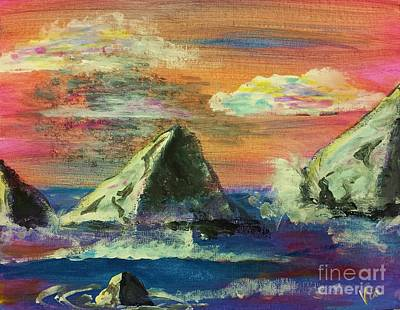 Painting - Twilight Sea Rocks by Judy Via-Wolff
