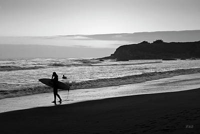Photograph - Twilight Surfers Bw by David Gordon