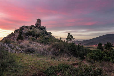 Photograph - Twilight Tower - Tower Of Caprona In Tuscany, Pisa by Matteo Viviani
