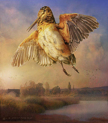 Woodcock Digital Art - Twilight Woodcock Rising by R christopher Vest