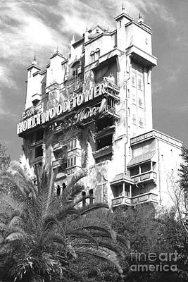 Photograph - Twilight Zone Tower Of Terror Vertical Hollywood Studios Walt Disney World Prints B And W Film Grain by Shawn O'Brien