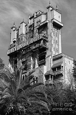 Digital Art - Twilight Zone Tower Of Terror Vertical Hollywood Studios Walt Disney World Prints Bandw Poster Edges by Shawn O'Brien