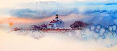 Lighthouse Images Painting - Twilightlight At Pt. Loma Lighthouse, San Diego by John YATO
