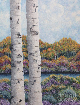 Painting - Twin Aspens by Holly Carmichael