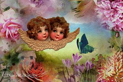 Digital Art - Twin Cherubs by Diana Riukas