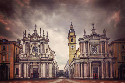 Twin Churches Of Turin  Art Print by Carol Japp