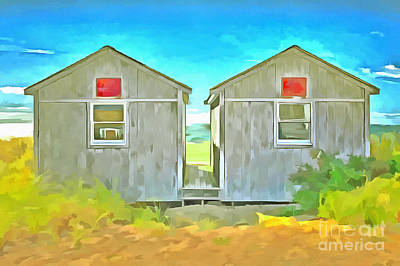 Cape Cod Painting - Twin Cottages Craigsville Beach Cape Cod by Edward Fielding