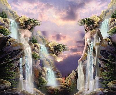 Digital Art - Twin Falls by Ali Oppy