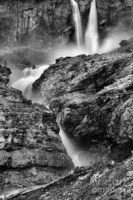 Photograph - Twin Falls At Yoho Black And White by Adam Jewell