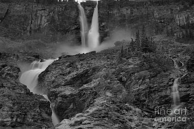 Photograph - Twin Falls Spring Flow Black And White by Adam Jewell