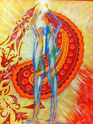 Radiating Chakra Painting - Twin Flames by Yvonne Payne