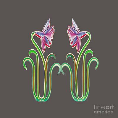 Digital Art - Twin Flower Inword Looking Illustration Art Pillows Tshirts Curtains Duvet Covers Phone Cases Gifts by Navin Joshi