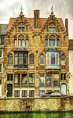 Photograph - Twin Houses In Bruges - Vintage Version by Weston Westmoreland