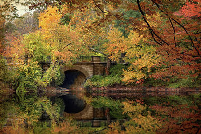 Fall Foliage New York Wall Art - Photograph - Twin Lake Bridge by Jessica Jenney