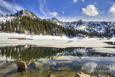 Twin Lakes Reservoir Melting Ice Art Print