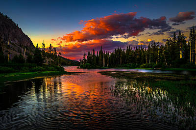 Reflection Photograph - Twin Lakes Sunset Mammoth Lakes California by Scott McGuire