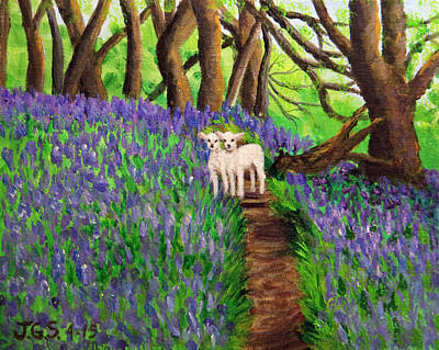 Painting - Twin Lambs Among The Bluebells by Janet Greer Sammons