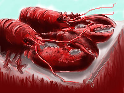 Painting - Twin Lobsters by Jean Pacheco Ravinski