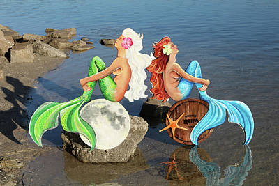 Twin Mermaids Original by Jennifer Rogers