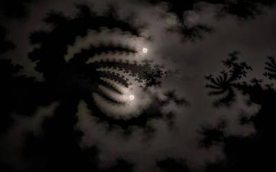 Digital Art - Twin Moons by GJ Blackman