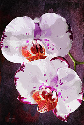 Photograph - Twin Orchids Painterly by Phyllis Denton