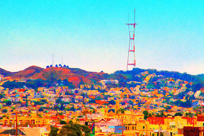 Castro District Digital Art - Twin Peaks In San Francisco by Wingsdomain Art and Photography