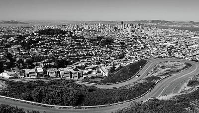 Photograph - Twin Peaks Overlook Of San Francisco Black And White by Judy Vincent