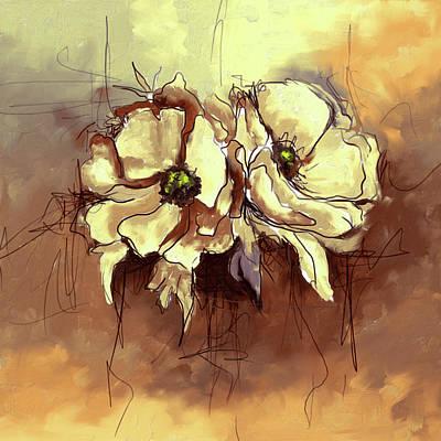 Wizard Painting - Twin Poppy Flowers 401 II by Mawra Tahreem