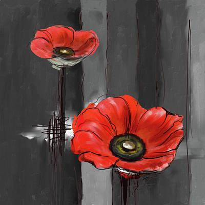 Corn Painting - Twin Red 403 II by Mawra Tahreem