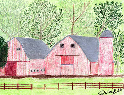 Old Barn Drawing - Twin Red Barns by John Hoppy Hopkins