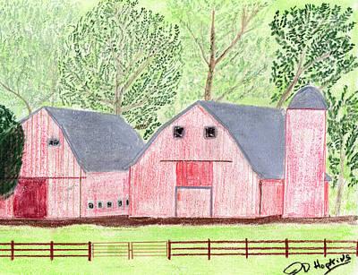 Old Barn Drawing - Twin Red Barns by John Hoppy Hopkins