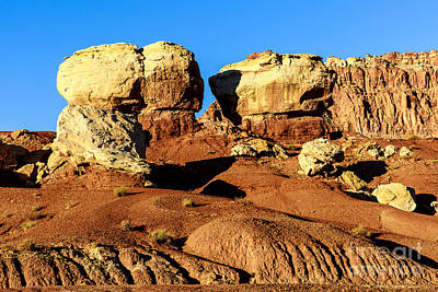 Photograph - Twin Rocks At Capitol Reef by Ben Graham