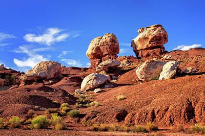 Photograph - Twin Rocks In Capitol Reef by Carolyn Derstine