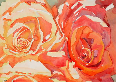 Wall Art - Painting - Twin Roses  by Jo  Mackenzie