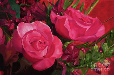 Twin Roses By Marilyn Nolan-johnson Original